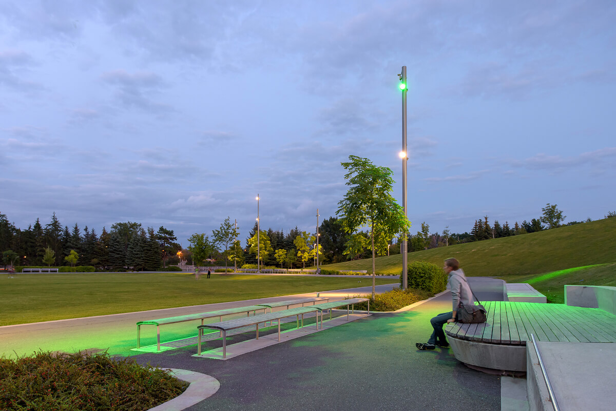 Benches, lights, soft landscaping and precast concrete stage at Lansdowne Park