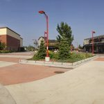 Planting and coloured concrete paving at Kanata Centrum