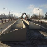 Installation of precast concrete planters on Sussex Drive