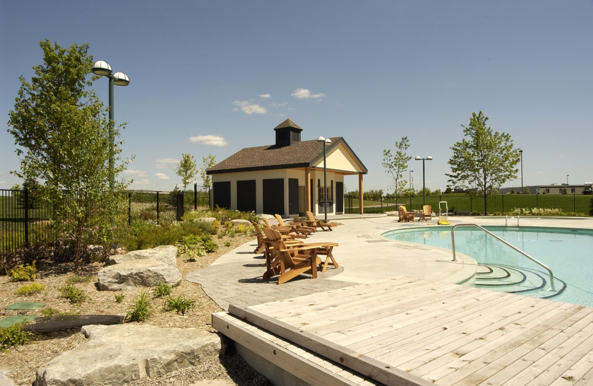 Outdoor pool and surrounding landscaping at Brook Street Hotel