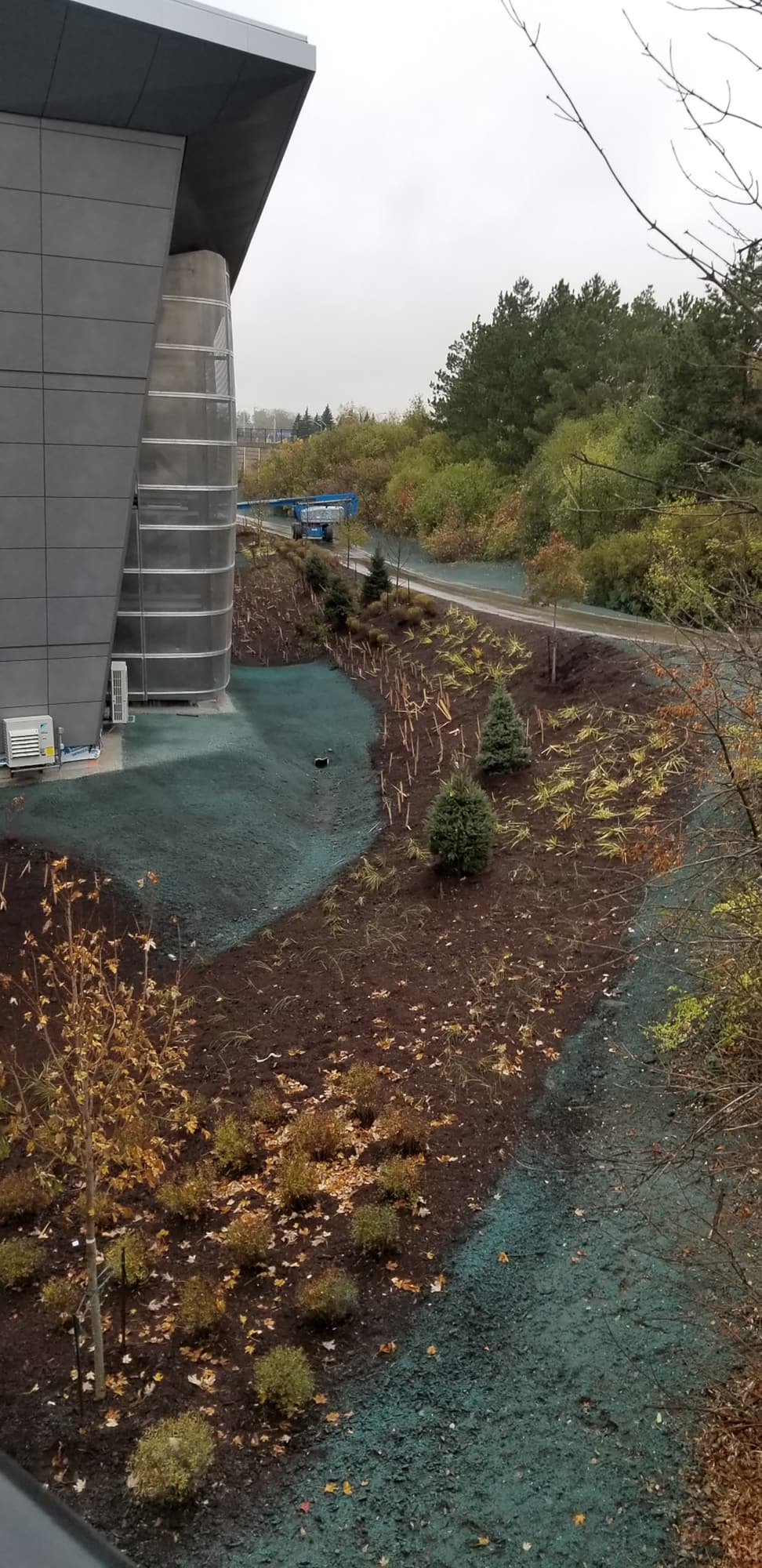 Tremblay OLRT Station showing hydroseeding and plant beds