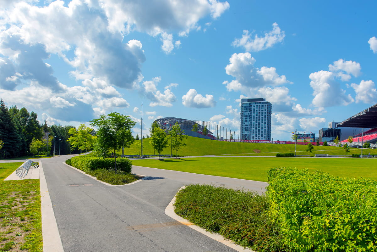 View of Lansdowne Urban Park Great Lawn with berm in background