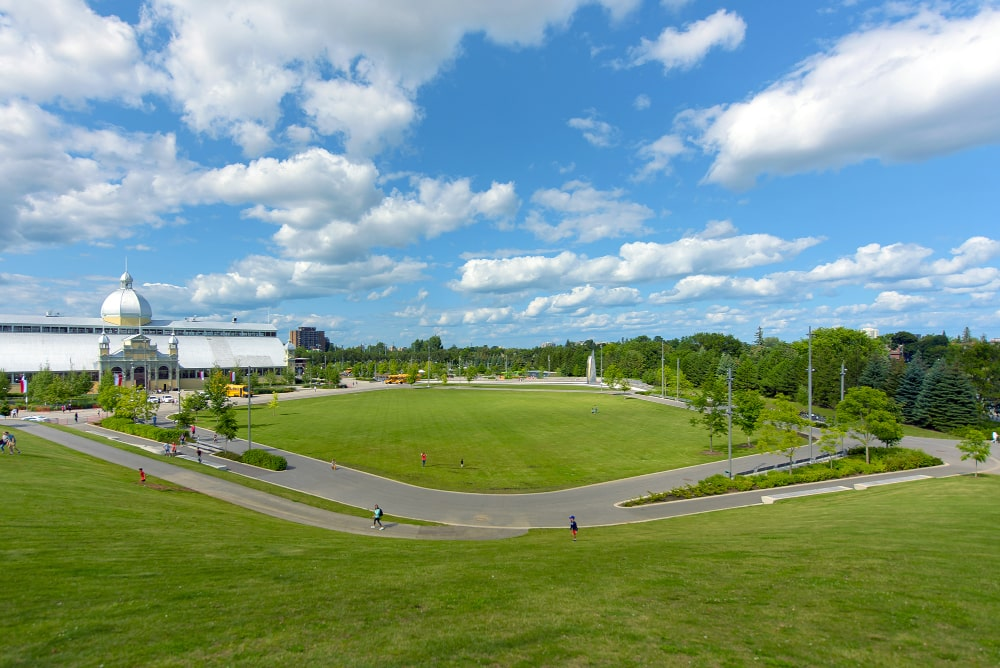 View of completed Great Lawn portion of Lansdowne Urban Park with Aberdeen Pavilion in background