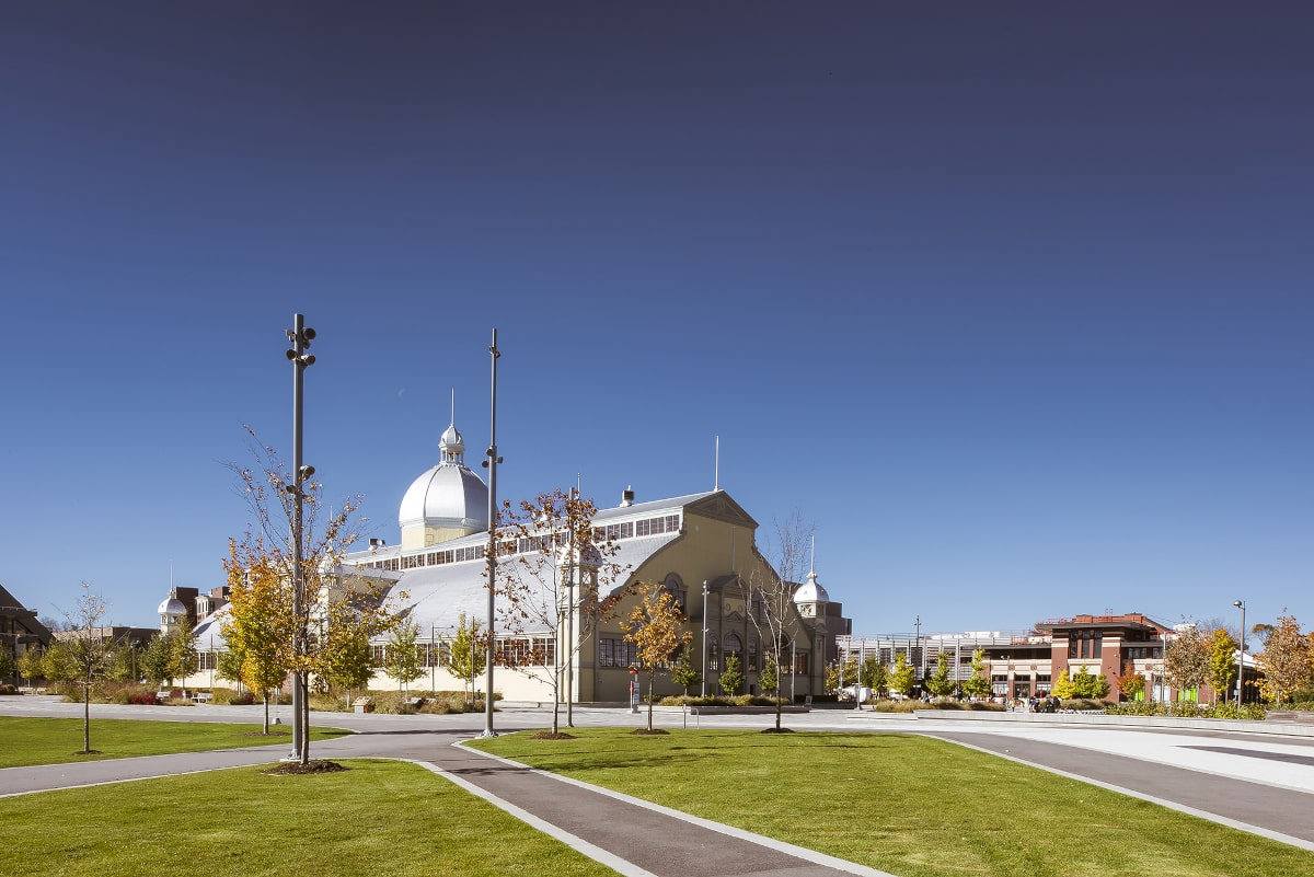 View of completed Lansdowne Urban Park with Aberdeen Pavilion in background